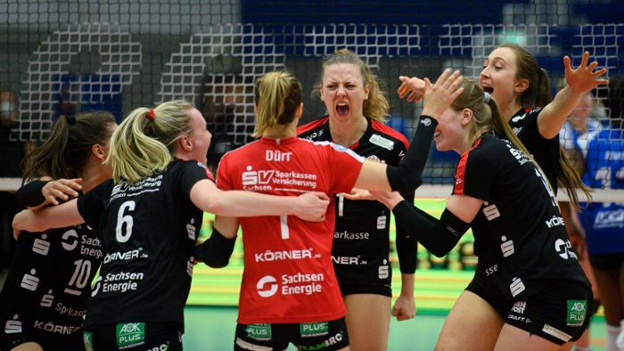Playoff-Finalspiel: Dresdner Volleyballerinnen verhindern Stuttgarter Party